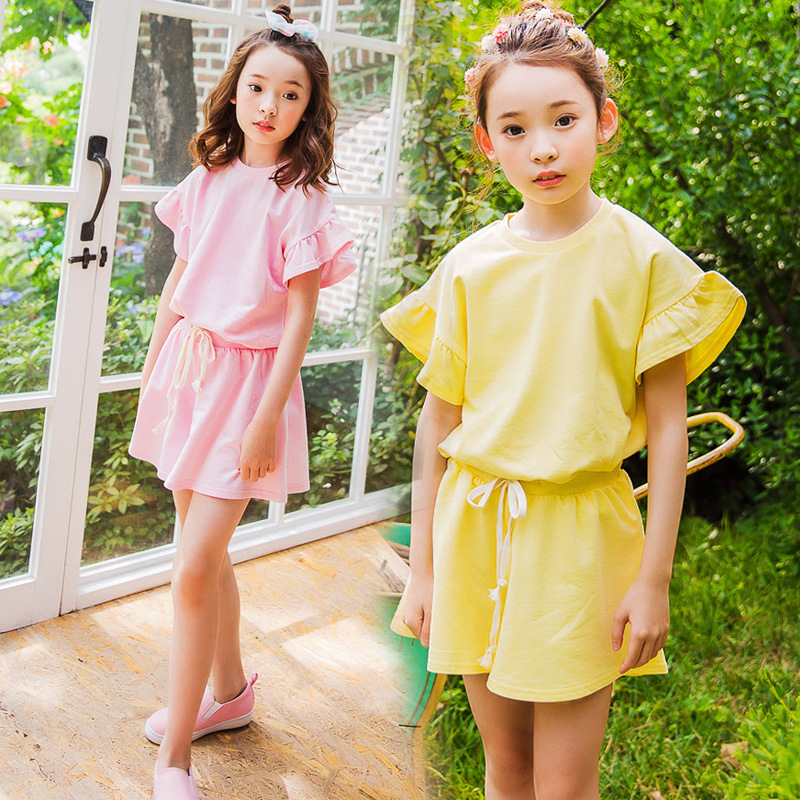 0b12ed4928f9 cotton big girls summer clothes set 2pcs children clothing sets summer girls  sport suit age 8 10 12 15 4 Years old tops shorts