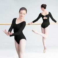 Long Sleeve Sexy Women Gymnastics Leotard Lady Black Ballet Suit Adult Dance Practice Clothes Ballet Dance