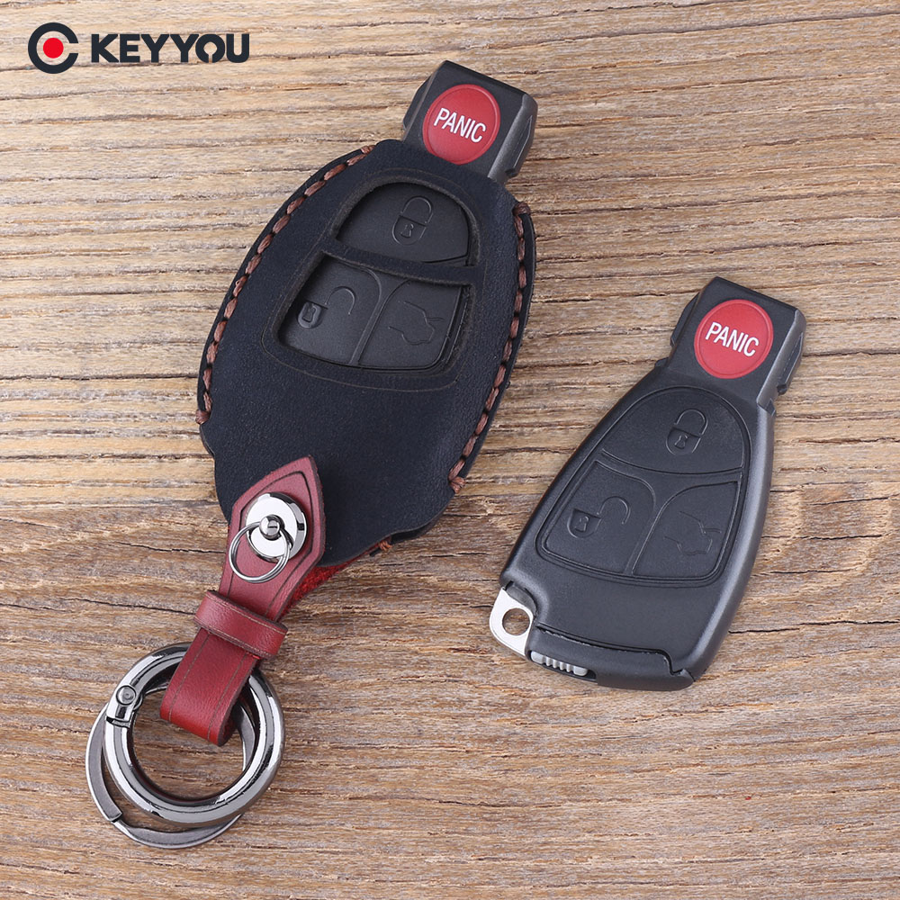 KEYYOU 4 Buttons Keychain Key Bag For Mercedes Benz C E R CL SL Car Key Cover Leather Key Case Shell Fob keyyou flip folding car shell remote key fob case 3 button for mercedes benz ml c cl s sl sel free shipping