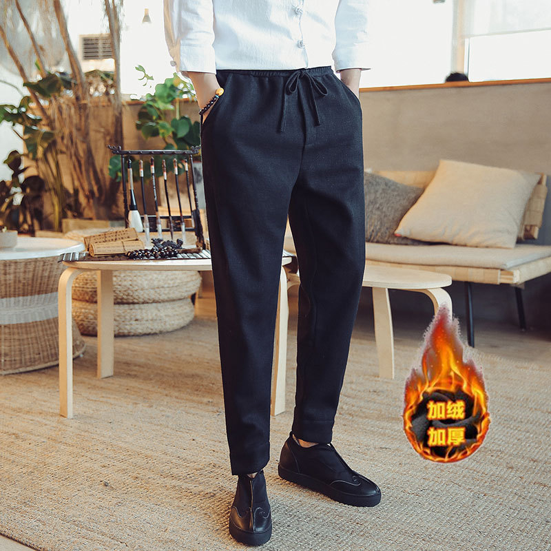 2018 New Arrival Direct Selling Linen Mid Pepe Jogger Winter Chinese Wind Mens Pants, Flax, Lounge, Thick And Velvet Pants