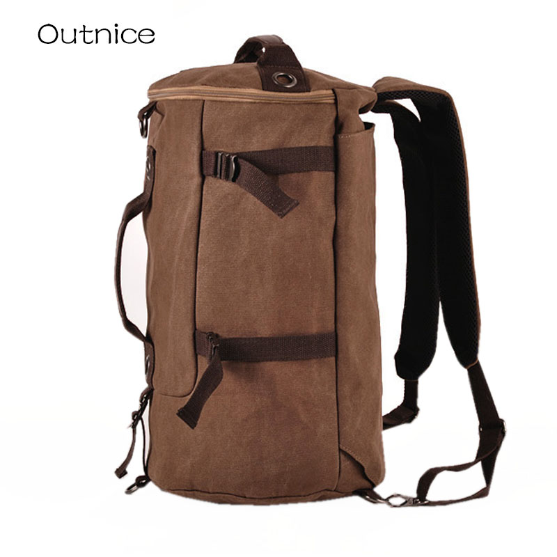 Men's Multi-Functional Backpack Vintage Shoulder Bag High Quality Canvas Male Bagpack Rucksack Travel Luggage for Weekend 1