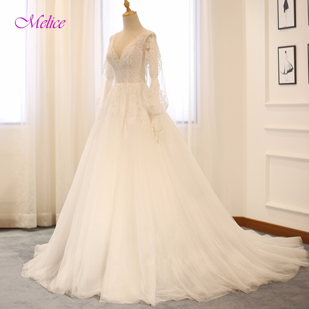 Melice Sexy V-neck Backlesss Lace Bohemian Wedding Dress 2018 Graceful Appliques Lantern Sleeves Wedding Gowns Vestido de Noiva