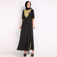 Muslim Dress With Embroidery For Women Islamic Clothing Rayon Gown Long Sleeve Maxi Dress Ropa Mujer