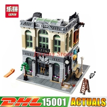 2017 New LEPIN 15001 2418pcs Brick Bank Model Building Kits Blocks Bricks Kits Funny Toy Compatible With 10251 for children gift
