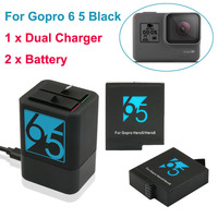 2x Hero 5 1220mAh Rechargeable Battery + Hero5 6 Dual Battery Charger For Go Pro Hero7 6 GoPro 5 Black Sport Camera Accessories