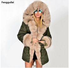 Casual Camouflage Hooded Long Sleeve Women Fleece Slim Waist Drawstring Coat Faux Fur Cotton Thicken Coat plus size XXXL drawstring waist letters embroidered multi pocket hooded long sleeves thicken coat for men