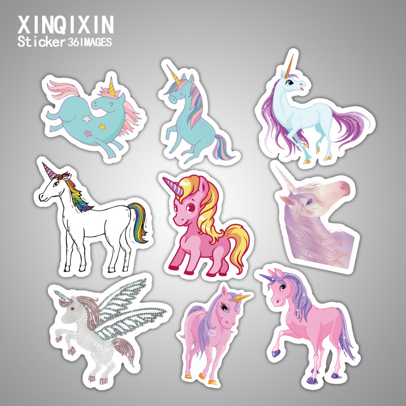 33 Pcs Mixed Dream Sticker Unicorn Cute Cartoon Anime Toy Kids Stickers for DIY Portable Phone Luggage Skateboard Room Stickers