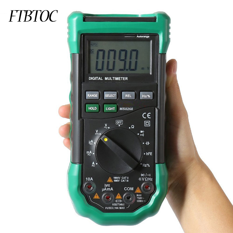 FTBTOC <font><b>MS8268</b></font> Auto Range Digital Multimeter Full protection AC/DC Voltmeter Ammeter Ohm Capacitance Meter diode test image