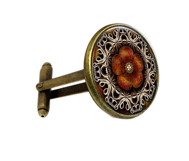 1 pair handmade jewelry shirt cufflink for mens Brand cuff mandala henna yoga High Quality Cufflinks free shipping