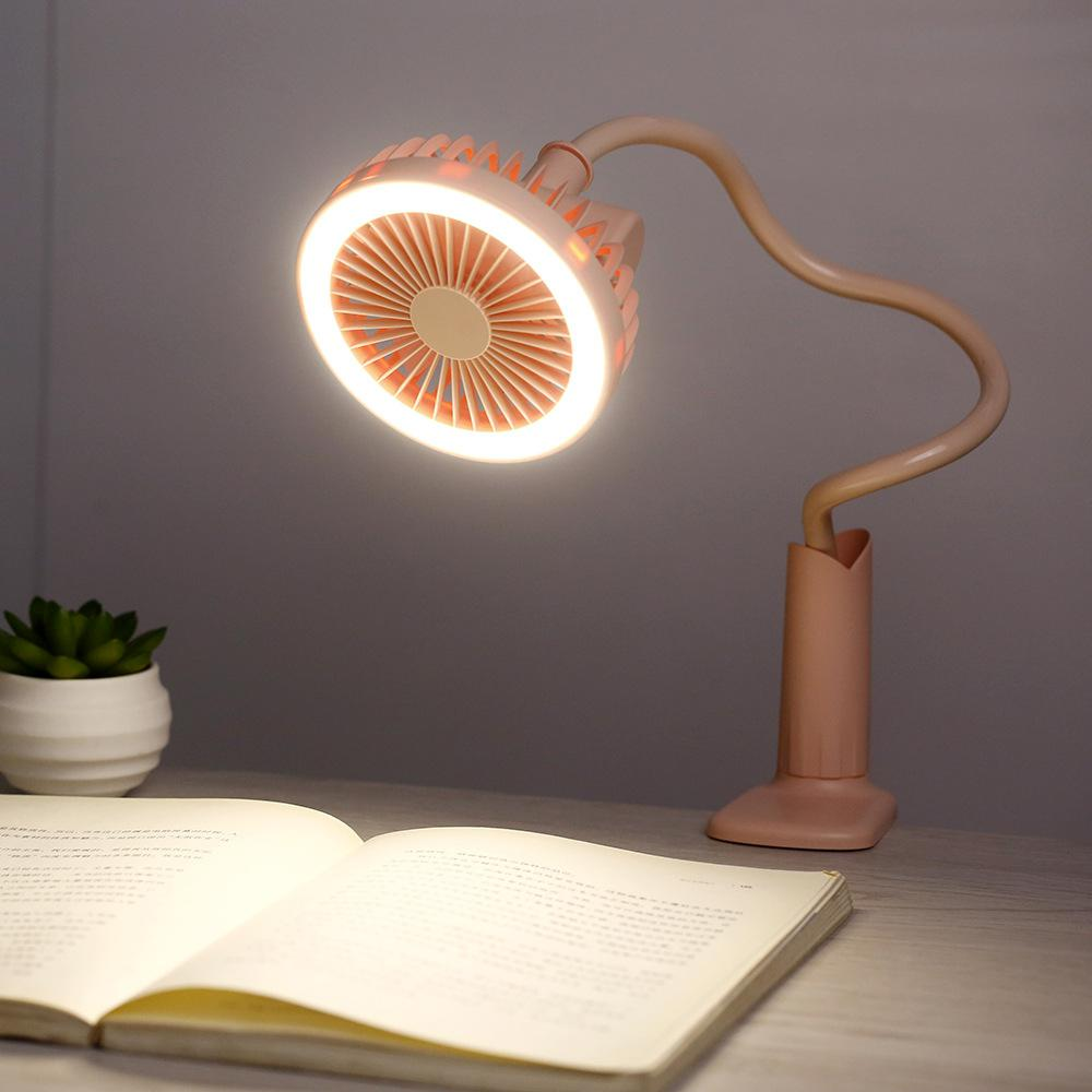 AKDSteel Creative Summer Multifunction Fan Night Light Shower-shape Clip Table Light Mini Electric Decoration Gift USB Charging