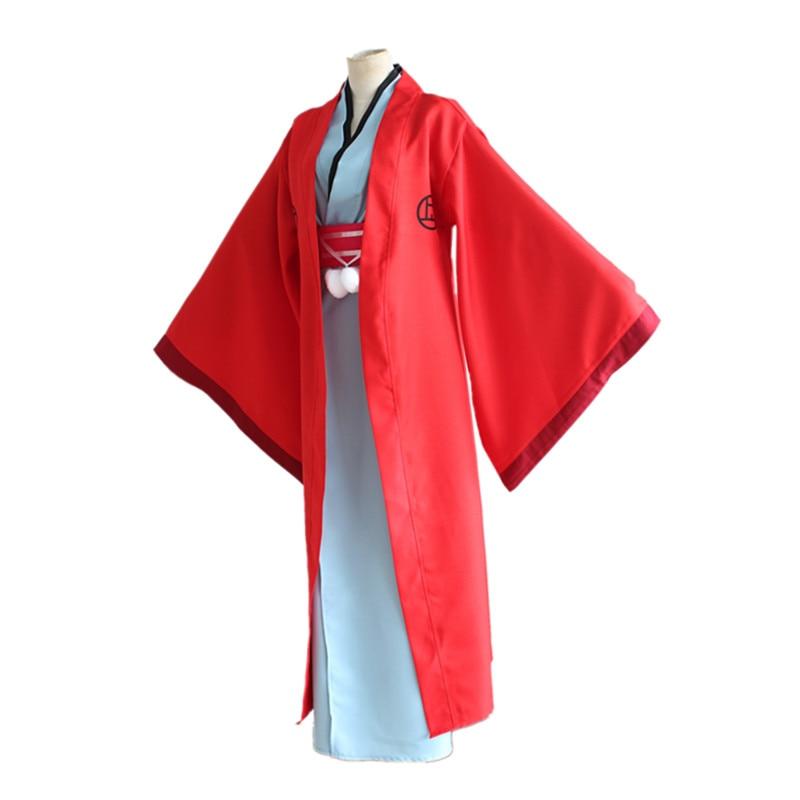 Fukigen na Mononkean The Morose Mononokean Haruitsuki Abeno Red Cape Kimono Set Cosplay Costume Halloween Party Wear