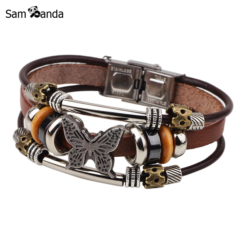 Butterfly Bracelets 2017 Hand Made Braided Buckle Fashion Style Bracelet For Women Charm Leather Bracelets & Bangles Men Jewelry