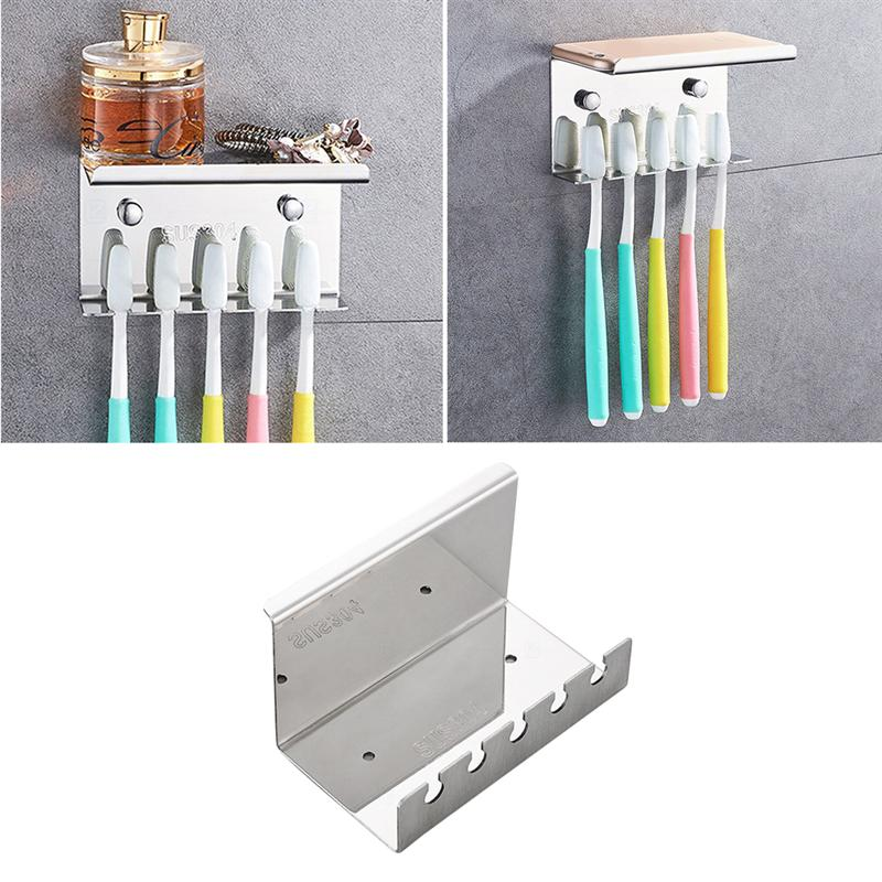 Image 1 - Bathroom Toothbrush Holder Wall Mounted Stand 304 Stainless Steel Toothpaste Rack (Punch   Five Position Toothbrush Holder)-in Toothbrush & Toothpaste Holders from Home & Garden
