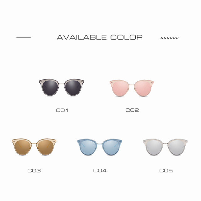 AOFLY Fashion Cat Eyes Sunglasses Mirror Coating Lens Metal Frame UV400
