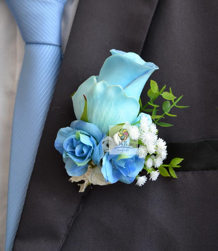 5pcs Set Groom Groomsmen Boutonniere Artificial Blue Roses