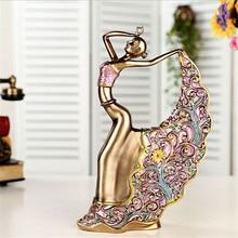 1 pcs European Peacock Female Figure Statue Pavaner Crafts Ornaments Home Decorative Accessories Sculpture Dancer