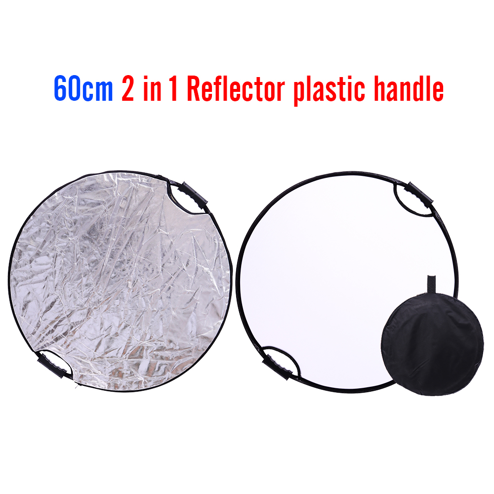 CY silver + white 60cm 24 Round Portable Studio Photo reflector handhold multi Collapsible Photographic Lighting Reflector