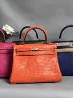 100% натуральная кожа страуса кожи Для женщин плеча сумочку, high end качество кожи страуса сумка леди зеленый цвета: оранжевый, розовый