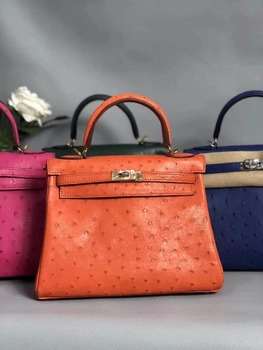 100% Genuine Ostrich Leather Skin Women shoulder Handbag, High end Quality ostrich skin messenger bag lady green orange pink  Сумка