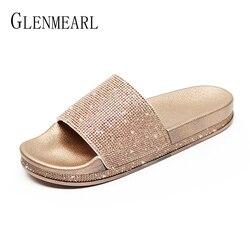 Fashion Women Slippers Crystal Flat Heel Summer Shoes Female Indoor Outside Bling Beach Slides Open Toe Rhinestone Ladies Shoe