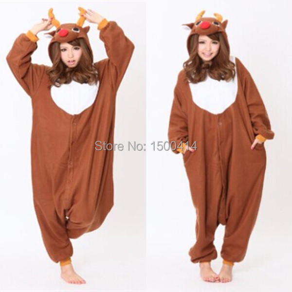 CosAnimal Kigurumi állati jelmez Karácsonyi szarvas Onesie Pajama Felnőtt Halloween karnevál fél ruha