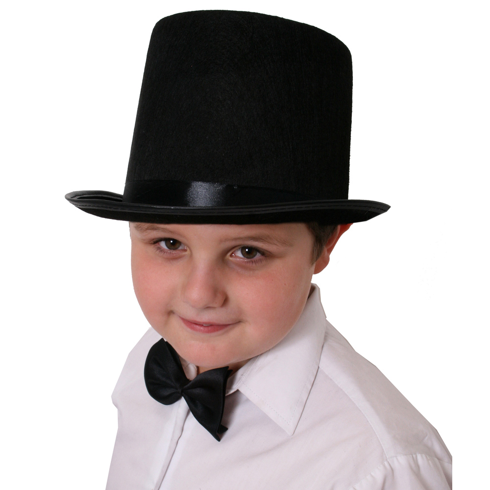 CHILDS TOP HAT 55CM BLACK FELT SATIN BAND MAGICIAN VICTORIAN FANCY DRESS COSTUME