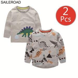 Image 3 - SAILEROAD 2 Pcs Escavatore Ragazzi di Stampa Manica Lunga Magliette e camicette per Abbigliamento per Bambini 4 Anni I Bambini Piccoli t shirt di Cotone Vestiti per Bambina