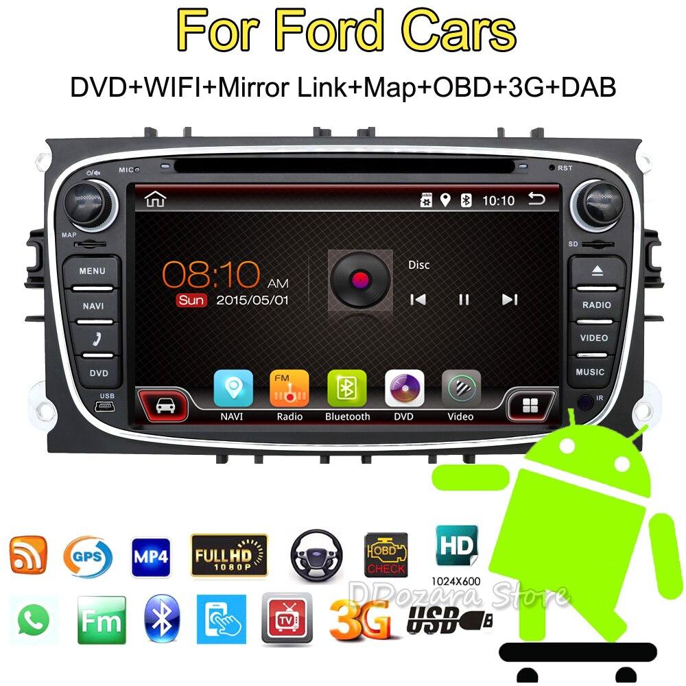Autoradio de voiture radio pour ford focus mondeo 2din android voiture dvd radio cassette enregistreur TV 3g 4g DAB OBD (option)