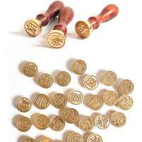 Retro Wood Classic 24 Letter Alphabet Initial Wax Seal Stamp Post Decorative Vintage DIY Handle Brass Head Wedding Invitation