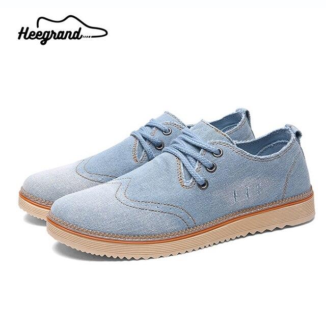 Hee grand hombres zapatos 2017 nueva marca tendencia de la moda de lona ocasional respirable de la vendimia con cordones de los hombres de mezclilla zapatos xmf508