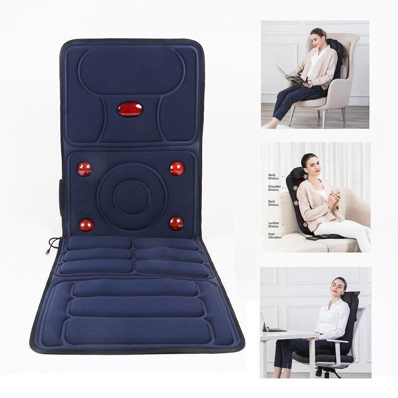 Elektryczny poduszka do masażu łatwy składany przenośny podgrzewany masażer Home Office Full ciała powrót szyi talii krzesło do masażu Shiatsu siedzenia w Masaż i relaks od Uroda i zdrowie na  Grupa 1