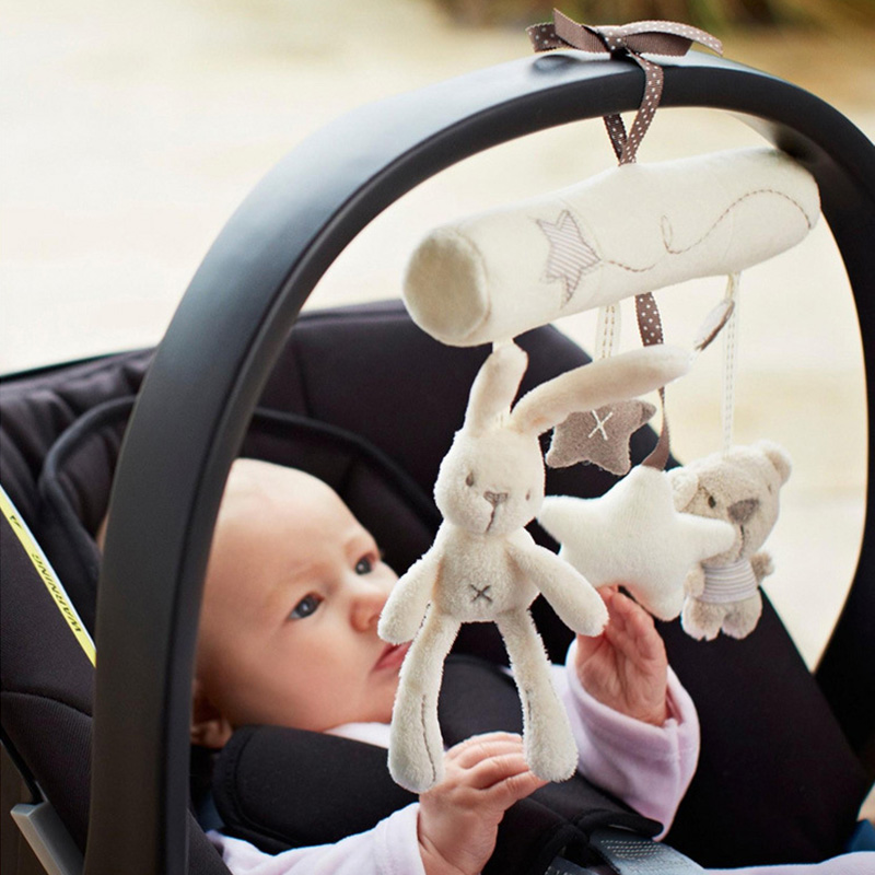 Creative Infants Cradle Cute Rabbit baby music hanging bed safety seat plush toy Hand Bell Multifunctional Plush Toys bed cradle musical carousel by mobile bed bell support arm cradle music box with rope automatic carillon music box
