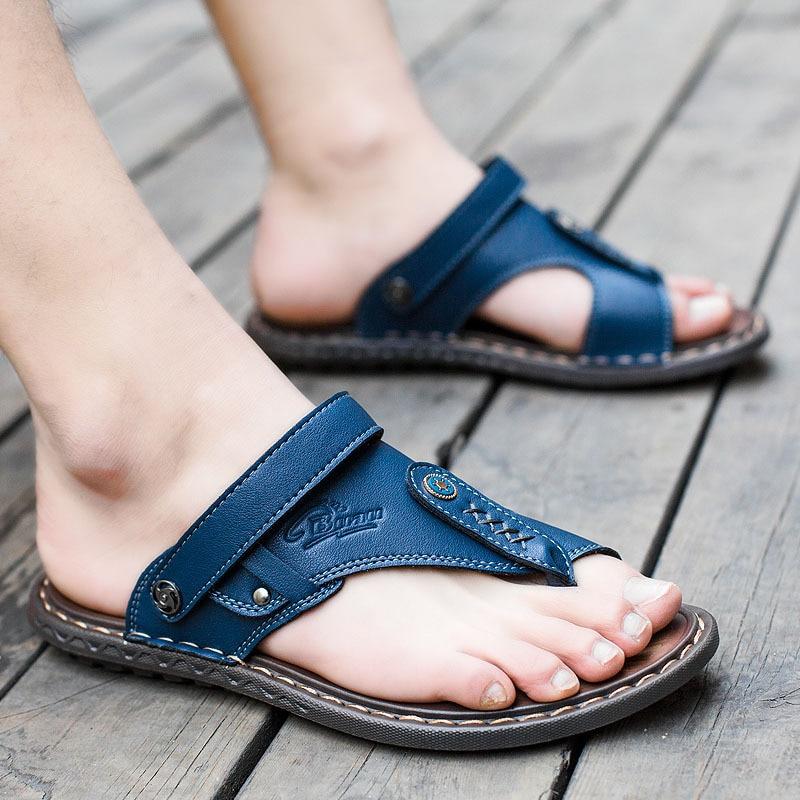 Homens chinelos de verão Masculinos Chinelos de couro genuíno para o homem do vintage Sandálias de Praia Casuais Não-slide Zapatos Sapatos