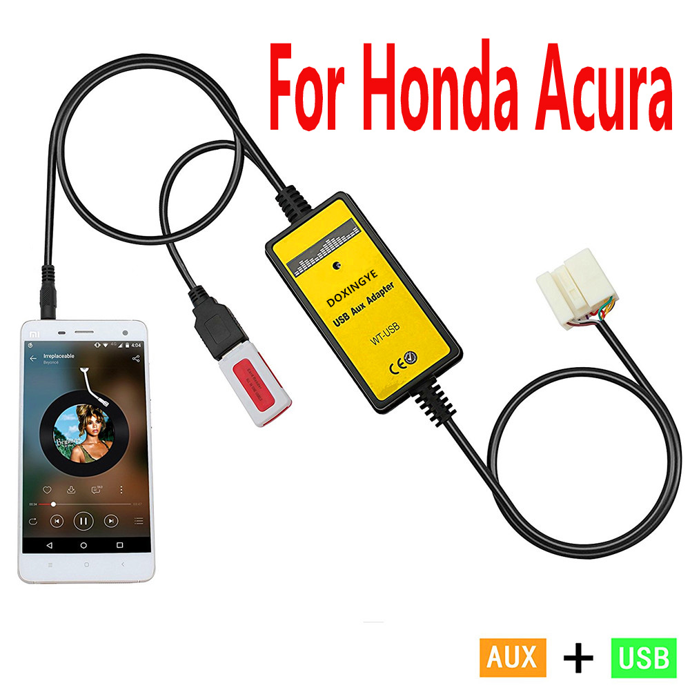 3 5mm Aux Usb Cable Music Adapter For Honda Crv Accord