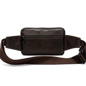 Image 3 - Поясная Сумка MVA мужская кожаная, забавная сумочка на пояс для денег, телефона, дорожный клатч на ремне на плечо, 8966