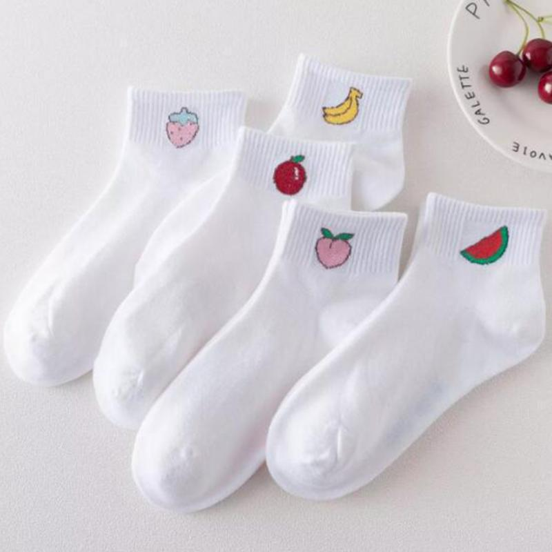1Pair Cotton Socks Women Harajuku Cute Kawaii Fruit Socks Korean Style White Ankle Socks For Girls Breathable Comfortable #426