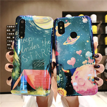 space planet tpu case for xiaomi redim note 7 mi 9 8 se A2 cover fashion blue ray patterned soft silicone phone bag capa