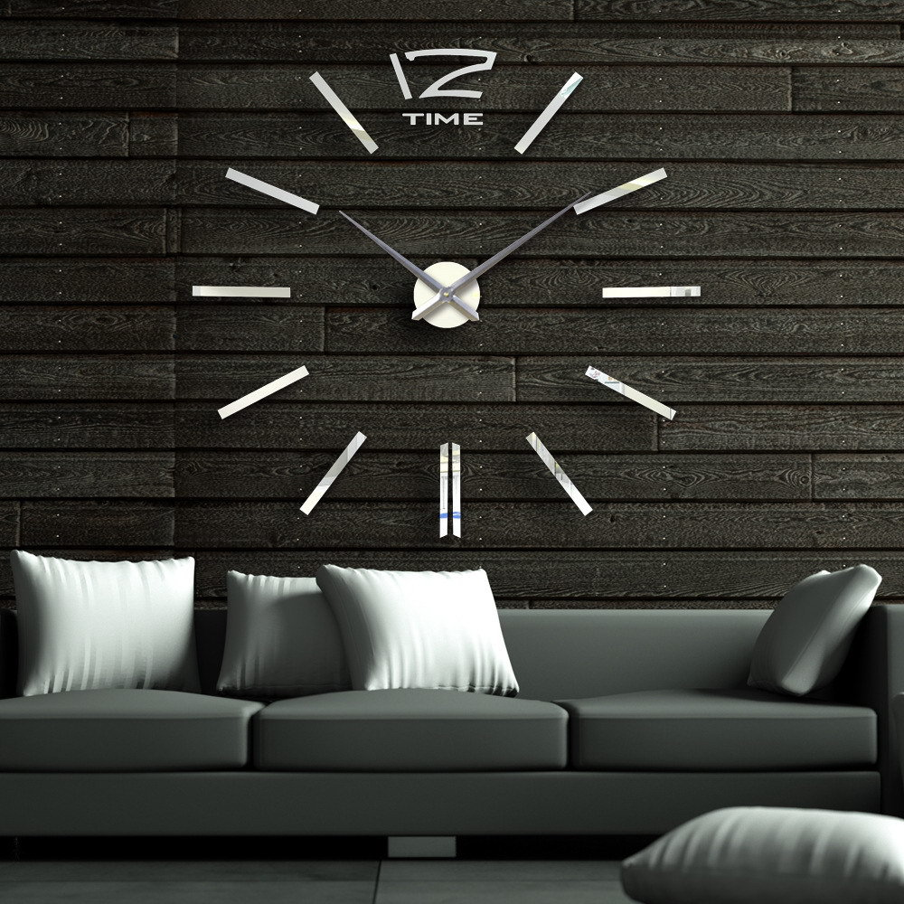 40 Inch Modern 3d Mirror Wall Clock Diy Room Home Decor