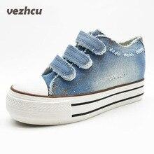 Vzehcu женская обувь на шнуровке Повседневная парусиновая обувь на платформе сезон: весна–лето Женская обувь из джинсовой ткани плюс размер 35-39 p6c169