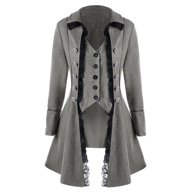 Vintage Long Coat Women Lace Patchwork Windbreaker Autumn Lady Triple Breasted Trench Coat Asymmetric Clothes Manteau Femme
