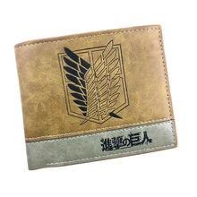 Anime ataque em titã carteiras casual bolsa de couro dos desenhos animados em relevo logotipo titular do cartão para adolescente dólar preço carteira