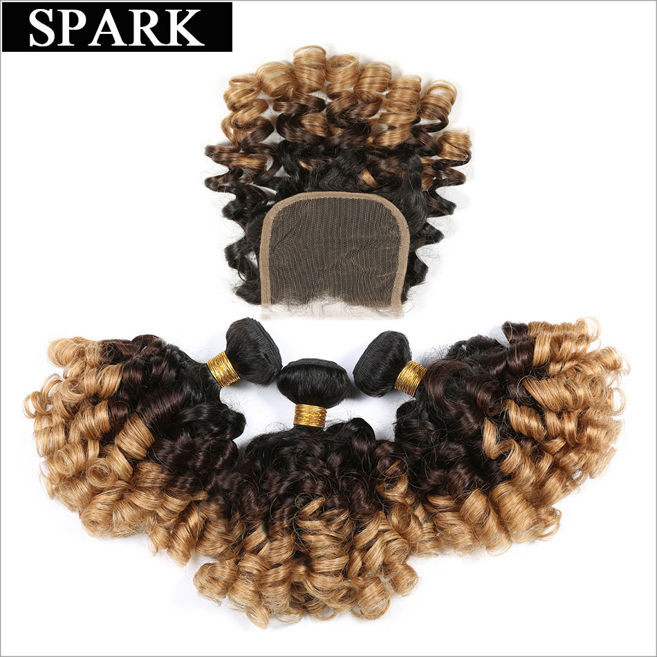 SPARK Brazilian Bouncy Curly Hair Bundle with Closure Ombre Human Hair 3/4 Bundles with Lace Closure Remy Hair 1B/4/27 & 1B/4/30