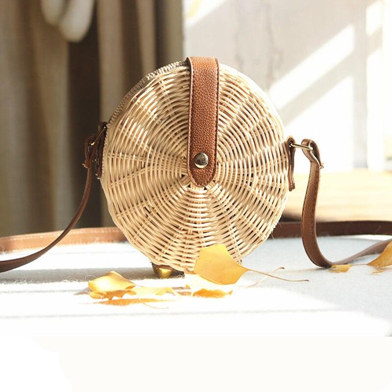 Women Straw Bag Bohemian Bali Rattan Beach Handbag Small Circle Lady Vintage Crossbody Handmade Kintted Shoulder Bags