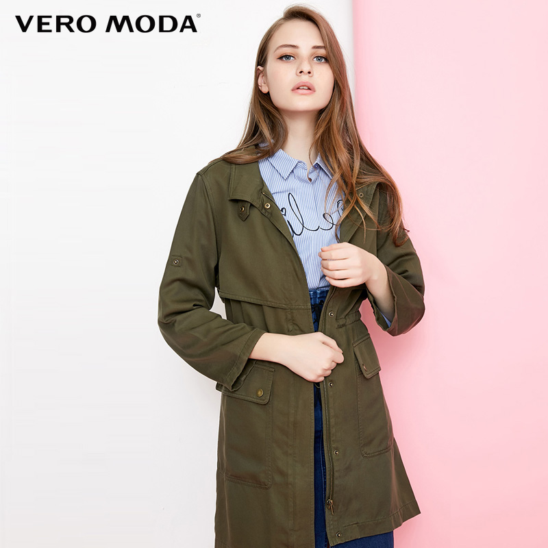 Vero Moda Casual Bowknot Autumn  Trench Mid Long Coat |318121513