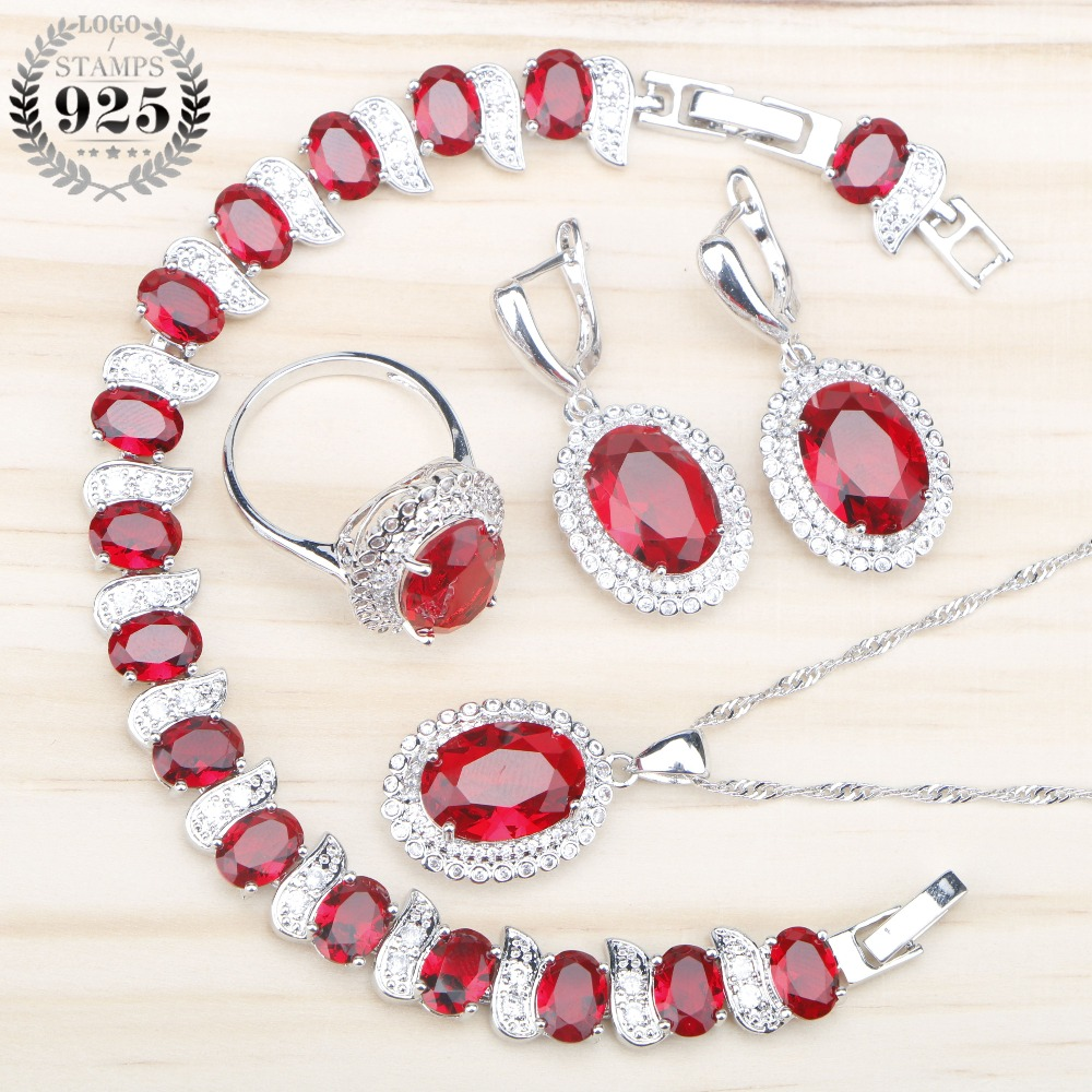 Red Zircon Bridal Silver 925 Jewelry Sets Women Earrings Ring With Stones Pendant Necklace Bracelets Set Jewelery Gift Box