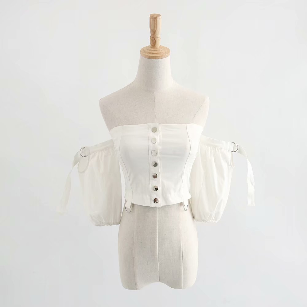 Elegante Sexy Picture Moda Camisas Blusa Mujeres Top Coreano Boho Botón De Las Streetwear Blanco Tops 2018 Verano As w7q1HH