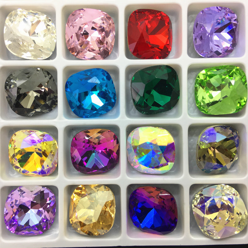 40pcs K9 Glass Crystal Classicial Square Pointback Glue On Rhinestones Fat Square Shape Rhinestones Diy Clothing Accessories