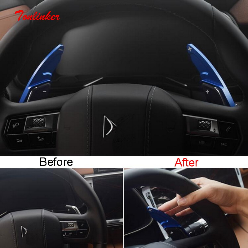 Tonlinker 2 PCS Car Steering wheel shift paddle Cover sticker for CITROEN DEESSE DS7 2018 19 Car Styling Aluminum Cover Stickers in Interior Mouldings from Automobiles Motorcycles