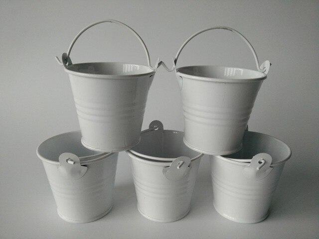 100Pcs Lot D5 5 H5CM mini flowerpots pots Mini Pail candy holders White Wedding favor Small