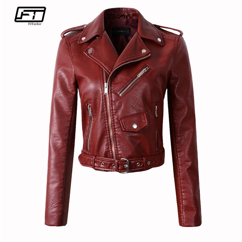 Fitaylor Women Wine Red Faux   Leather   Jackets Lady Pu   Leather   Jacket Bomber Motorcycle Biker Pink Black Outerwear With Belt